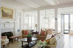 """Allison Hersh explores a bright, Beaufort-style waterfront retreat on Spring Island, where one couple has discovered the true meaning of """"home."""" Photography by Richard. French Country House, Low Country, Historical Concepts, Beautiful Living Rooms, Windows And Doors, Old Houses, Savannah Chat, Living Spaces, New Homes"""