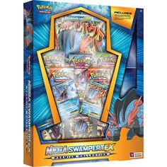 Each Premium Collection box includes a foil card featuring a never-before-seen Mega Evolution Pokémon-EX, plus 8 Pokémon TCG booster packs, a special playmat, and more. Get rough, tough, and mega muddy with Mega Swampert-EX!