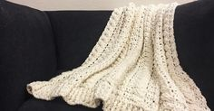 """Cabled Wedding Blanket , or what I like to call """"The baby-makin' blanket"""". This crocheted blanket uses two different crochet stitches and a ..."""