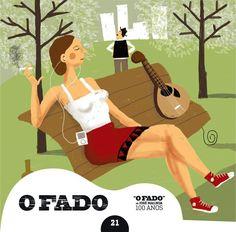 """2012 O Fado de José Malhoa 100 Anos 21 [Tugaland/A Bela e o Monstro] ilustração: Afonso Cruz """"O bom destino do fado"""" #albumcover #illustration #fado #music"""