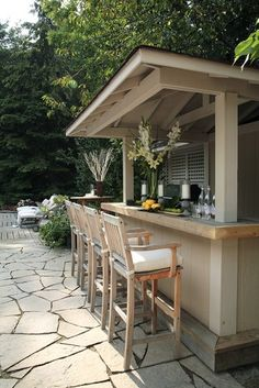 backyard bar and patio stone