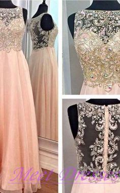 New Fashion Elegant A-line Beaded Bodice Blush Pink Chiffon Prom Dresses Long Chiffon Sparkly Evening Formal Gowns