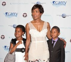 Angela Bassett and her twins, son, Slater Josiah and daughter, Bronwyn Golden, born January 27, 2006.