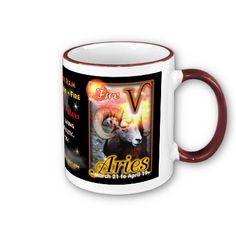 Aries Zodiac large red trim Mug by valxart for $15.95 is one of 720  designs for the 60 years of the Chinese zodiac combined with each of 12 zodiac designs and forecast each used on several products . Valxart also has 12 zodiac cusp and 60 years of chinese zodiac. If you do not see desired year and zodiac sign contact info@valx.us for links to desired images.