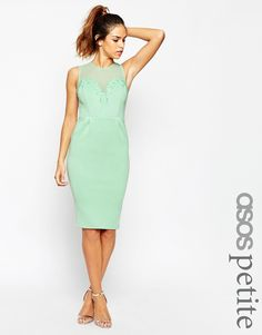 ASOS PETITE Pencil Dress with Encrusted Deep Plunge