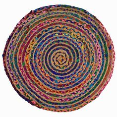 "$25 28"" Set your inner gypsy free by decorating your rooms in color. Colorful bohemian rainbow throw rug is handmade of row after row of colored braided cotton and hemp"