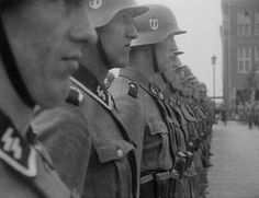 Waffen SS soldiers belonging to the Dutch division of volunteers Landstorm Nederland on parade, 1942.
