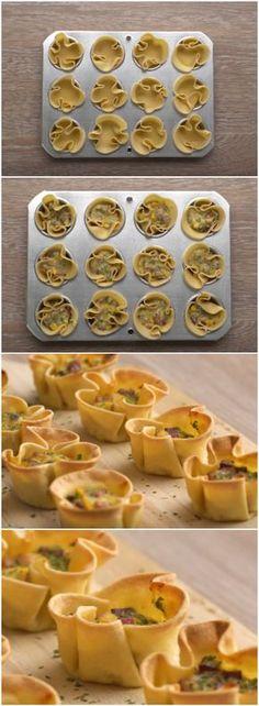 TORTINHA SALGADA FÁCIL COM MASSA DE PASTEL! (veja a receita passo a passo) #tortinha #tortinhasalgada #massadepastel