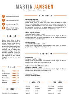 Resume template in Word + matching cover letter template. 2 color ...