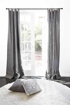 BELGIAN TEXTURED LINEN DRAPERY (SHALE) made from 100% Belgian linen available in various sizes and rod pocket and pinch pleat style. Drapes can also be custom made to fit your needs.