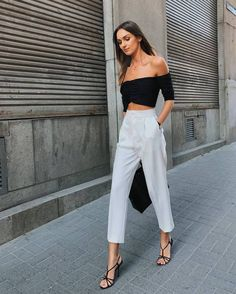 shoes high heels sandal heels white pants high waisted pants off the shoulder top bag Look Fashion, Urban Fashion, Fashion Outfits, Womens Fashion, Fashion Tips, Fashion Websites, Fashion Stores, Petite Fashion, Cheap Fashion