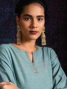 Blue Handloom Silk Kurta with Hand Embroidery Silk Kurti Designs, Salwar Neck Designs, Kurta Neck Design, Kurti Designs Party Wear, Blouse Designs, Embroidery Suits Punjabi, Embroidery On Kurtis, Embroidery Online, Embroidery Dress