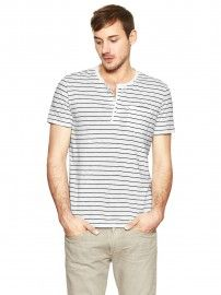 线上专供-时尚细条纹亨利领短袖T恤