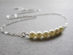 Sleek No. 6 - Pearls and Sterling Silver Necklace