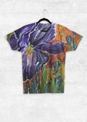 ABSTRACT IRIS: Unisex Tee What a beautiful product! Acrylic on a large canvas now printed on this Unisex Top plus other apparel etc., To BUY THIS Unisex Top is on a special 50% going for 72hrs at present be quick to buy code: ISABESMPLAPICX