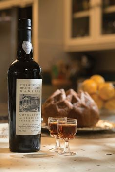 This Madeira is from The Rare Wine Company, (Vinhos Barbeito); part of The Madeira Historic Series; Charleston Sercial Special Reserve. The rich amber wine offers notes of orange peel, toffee and aromatic spice. It is produced in the Madeira-style popular in the port city of Charleston. The pound cake in the background is an orange-scented, contemporary-style Madeira cake.