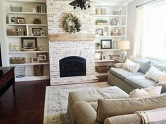 Home Renovation Living Room 30 Inspiring Farmhouse Living Rooms Decor Ideas - Trendecora - Your living room should be decorated in your own personal style, not that of a decorator. The living room is […] Farmhouse Fireplace, Home Fireplace, Modern Fireplace, Living Room With Fireplace, Fireplace Design, My Living Room, Fireplace Ideas, Fireplaces, Shelving By Fireplace
