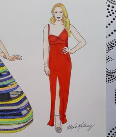 Fashion illustration of Sophie Turner in Louis Vuitton dress at the SAG awards 2017 done with copic marker by Alexa's Illustrations alexasillustrations