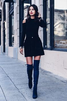 Black cold shoulder top, black suede mini skirt, navy suede over the knee boots - Fall outfits, fall fashion trends 2017, fall fashion, street style, party outfits, night out outfits, holiday outfits, dressy outfits.