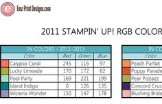 Stampin' Up 2011 RGB Color Codes