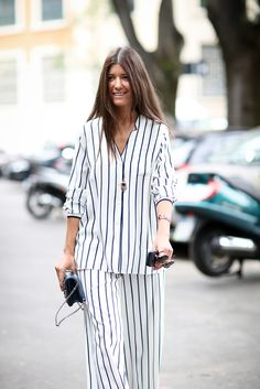 Awning stripes on a pajama set look great when matched with a '70s-inspired approach to beauty.
