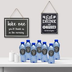 Katerwater trouwbedankje Krijtbord  | chalkbord wedding | Shop de leukste bruilofts decoraties hier: www.weddingdeco.nl Chalkboard Wedding, Groom, Drinks, Day, Wedding Ideas, Drinking, Beverages, Grooms, Drink