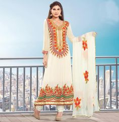 $88.60 White Faux Georgette Pakistani Long Anarkali Salwar Kameez 21991