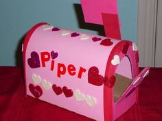 Foam Valentine's Mailbox decorated with hearts.