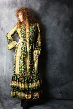 Vintage 1970s Calico Hippie Mama Maxi Dress with by MajikHorse, $40.00