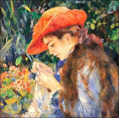 Pierre Auguste Renoir (1841-1919) .....sewing in the garden