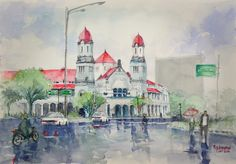 Lawang Sewu Semarang water colour