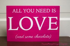 Handmade Love & Chocolate Vinyl and Wood Home Decor Sign, Valentine's Day Decor by PaintedPeonyDesigns, $14.99