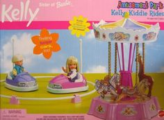 """Barbie KELLY Amusement Park Kelly Kiddie Rides Playset (2000) by Mattel. $59.99. ADULT ASSEMBLY REQUIRED. Colors & Decorations may vary from those shown on box.. KELLY Amusement Park Kelly Kiddie Rides Playset is a 2000 Mattel production.. Includes: Carousel, 2 Bumper Cars, Bumper Car Boundary Ring. See more details below in Product Description.. Playset intended for Kelly & 4.5"""" size fashion dolls; dolls NOT included. Playset can be used w/other size dolls, as preferre..."""