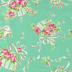 HALF YARD Yuwa Fabric - Hat Boxes, Ribbons and Letter Envelopes on Mint Green - Atsuko Matsuyama 30s collection - Pink - Japanese Import by fabricsupply on Etsy