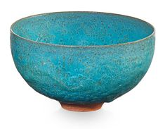 GERTRUD NATZLER (1908 - 1971); OTTO NATZLER (1908 - 2007) Small bowl, turquoise crystalline glaze, Los Angeles, CA, 1964. Glazed earthenware. Signed NATZLER, original paper label N218