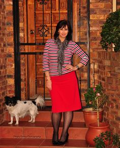 Mixing up a happy striped long sleeved t-shirt with a red pencil skirt and an animal print scarf for a little edge ... trying out the mixing pattern trend
