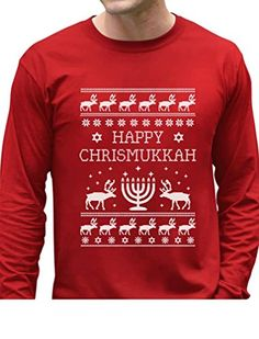 TeeStars - Happy Chrismukkah Funny Ugly Christmas / Hanukkah Long Sleeve T-Shirt Small Red. OUTSTANDING FABRIC QUALITY!. SUPER FAST SHIPPING!. 100% MONEY BACK GUARANTEE. Official Teestars Merchandise. 100% combed-cotton. Printed in the USA.