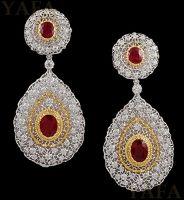 BUCCELLATI Two Tone Gold Diamond  and Ruby Earrings