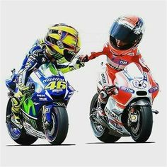Valentino Rossi y Andrea Dovizioso Gp Moto, Moto Bike, Bike Art, Motorcycle Bike, Motogp, Course Moto, Custom Sport Bikes, Valentino Rossi 46, Sportbikes
