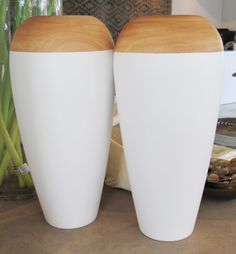 Sold - Two-Tone White and Mango Wood Vase - Inside Out Home Boutique