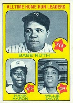 Babe Ruth, Hank Aaron, Willie Mays baseball card, would love to see Hank's card with the number at Old Baseball Cards, Baseball Star, Football Cards, Baseball Players, Baseball Classic, Phillies Baseball, Babe Ruth, Willie Mays, Hank Aaron