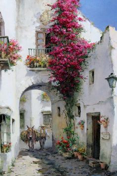 Manuel Fernández García (Spain) Was born in 1927 Landscape Painter of Peoples . - Manuel Fernández García (Spain) Born in 1927 Spanish Landscape Painter of Peoples and Customs - Watercolour Painting, Painting & Drawing, Landscape Art, Landscape Paintings, Beautiful Paintings, Painting Inspiration, Art Drawings, Scenery, Art Gallery