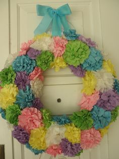 For instructions look at coffee filter wreath on for the home board Coffee Filter Wreath, Coffee Filter Flowers, Coffee Filters, Design Crafts, Diy Crafts, Home Board, Holiday Parties, Holiday Ideas, Easter Wreaths