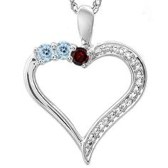 Kay - Color Stone Mother's Heart Necklace