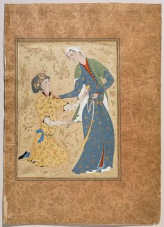 A Young Man Offering a Cup of Wine to a Girl  Persian Safavid 16th century