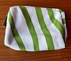 Marimekko Finland for Finnair Vintage White and Green Cosmetic Bag Make Up Bag Marimekko, White Fabrics, Green Stripes, Bag Making, Finland, Cosmetic Bag, Make Up, Cosmetics, Pattern
