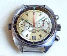 Chronograph watch in very good condition serviced by a master and work good , Watch with stopwatch function, used by pilots in aircraft to perform calculations of time and distance.  Video review - https://youtu.be/QtWaonhvzvE  Made by the POLJOT watch factory in 80s. The watch comes with original bracelet.  Instruction - When the watch mechanism is running - seconds hand (left) must move. Central second hand - this hand of stopwatch, which is started by pressing the top button...