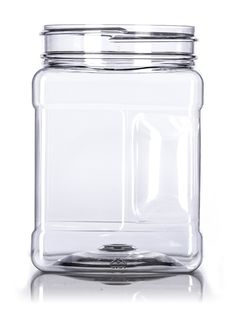 32 oz clear PET square container with grip with 89-400 neck finish : Square…
