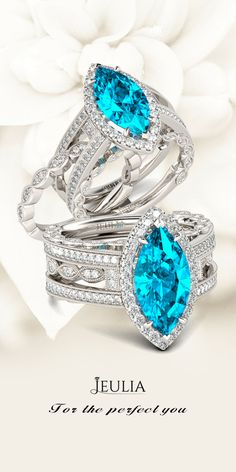 Jeulia Interchangeable Halo Marquise Cut Created Aquamarine Wedding Set #Jeulia