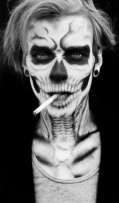 Kyle Harder Makeup - RAWartists.org Skeleton Makeup, Skull Makeup, Sfx Makeup, Costume Makeup, Makeup Art, Couple Halloween Costumes, Halloween Make Up, Halloween Skull, Halloween Face Makeup